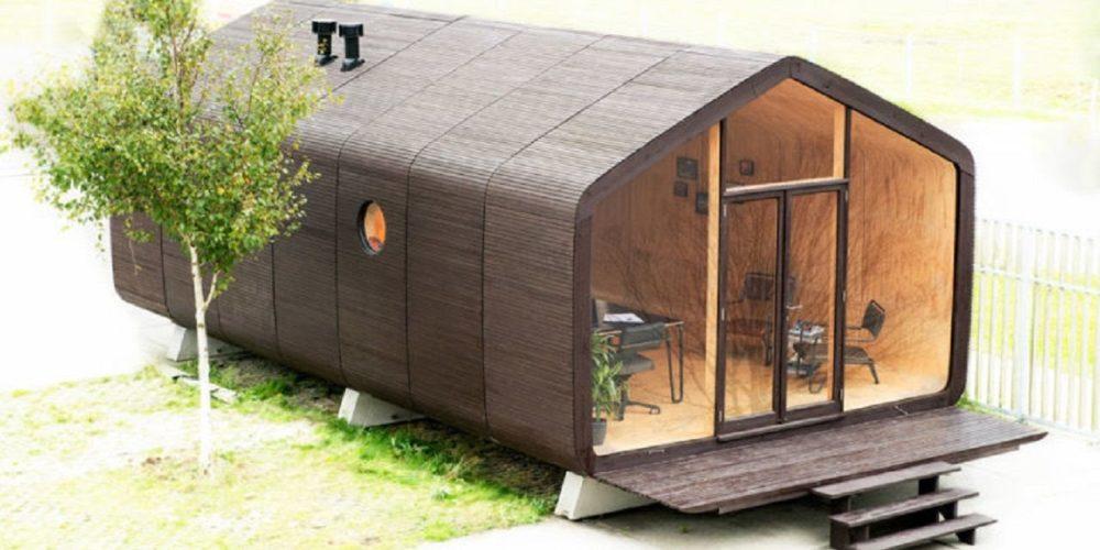 Case prefabbricate - Wikkelhouse - Esempio di casa assemblata con 7 moduli e la facciata aperta in vetro