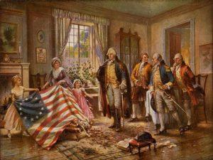 George Washington, Benjamin Franklin, Thomas Jefferson and Thomas Paine con la prima bandiera degli Stati Uniti d'America - Hemp e Guerra d'Indipendenza americana