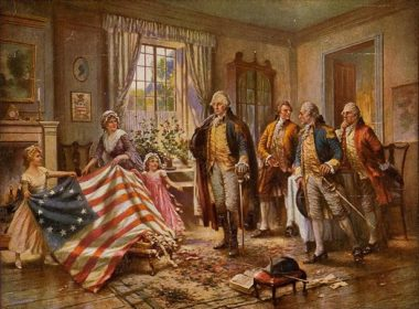 George Washington, Benjamin Franklin, Thomas Jefferson and Thomas Paine con la prima bandiera degli Stati Uniti d'America - Hemp e guerra d'indipendenza americana