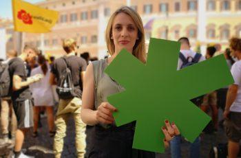 Antonella Soldo a Montecitorio per la manifestazione di Meglio Legale